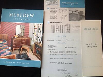 Vintage Meredew Furniture Sales Brochure & Price List 1954