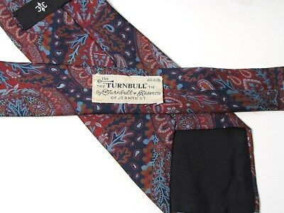 1661801dedcc TURNBULL & ASSER Burgundy Blue Paisley Silk Tie Vintage Jermyn Street  London UK