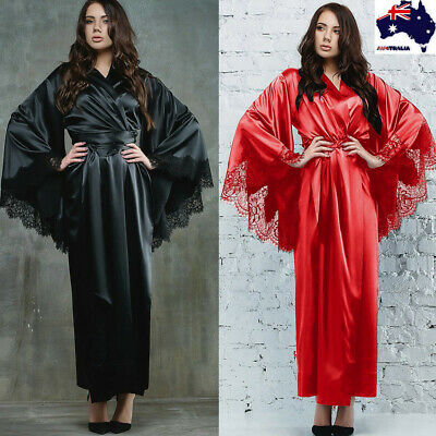 Women Sexy Lace Satin Kimono Long Robe Bathrobe Lingerie Sleepwear Belt Pajamas