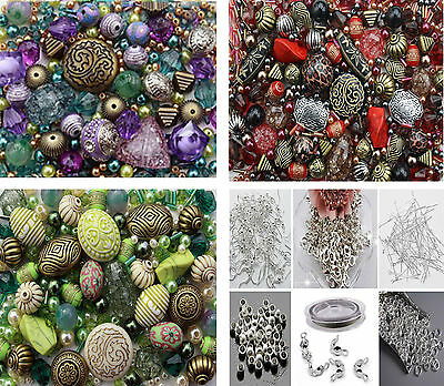 Approx x 1200 Jewellery Making Beads Mix & 350 Silver earwires jumprings ..