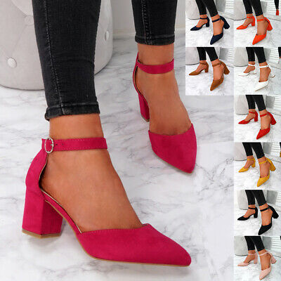 Womens Ladies Pointed Block Heel Pumps Ankle Strap Casual Party Shoes Size