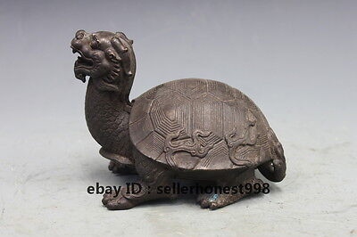 Chinese Feng shui Pure Bronze Auspicious Dragon turtle Tortoise Statue