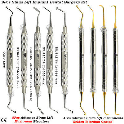 Sinus Lift Instruments Gold Titanium+Mushroom Elevators Periosteal Oral Surgery