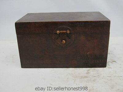 Chinese Folk Classical Bronze Lotus Auspicious Box Lion Head Jewelery Box