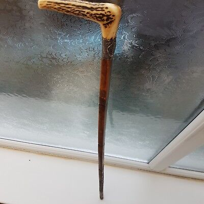 Vintage Wooden Walking Stick Cane With  Bone Handle.