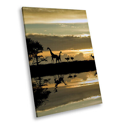 Brown Africa Giraffe Blue Portrait Animal Canvas Wall Art Large Picture Prints