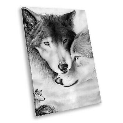 Arctic Wolves Black White Portrait Animal Canvas Wall Art Large Picture Prints
