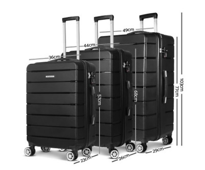 Suitcase Set 3 Piece Luggage Black Hard Shell Suit Case TSA Lock Trolley Travel