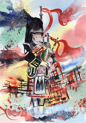 SCOTTISH HIGHLAND PIPER ART painting SCOTLAND bagpipes Thistle HeART Prints