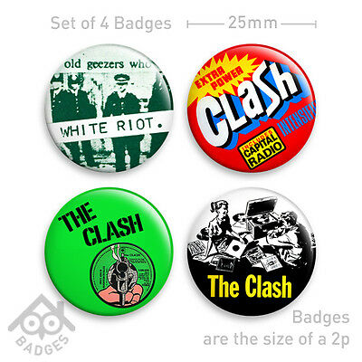 "THE CLASH London Calling, White Riot PUNK Vinyl Record -  1"" Badge x4 Badges NEW"