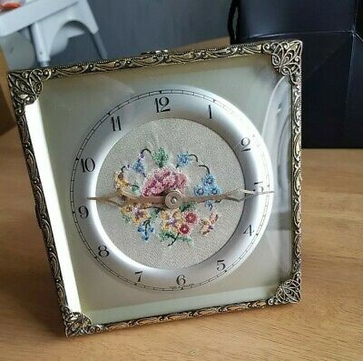 Vintage. Embroidered Face. Mantle Clock. Spares and Repairs.