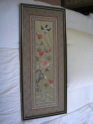 Vintage Japanese painted picture of flowers bird and plants hand made on silk