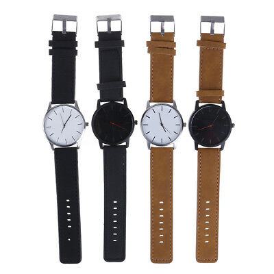 Men'S Fashion Sport Stainless Steel Pu Leather Band Quartz Analog Wrist Watch