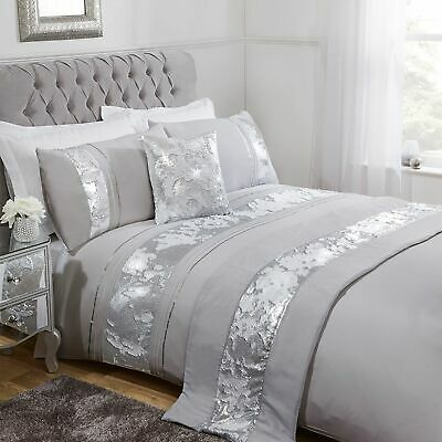 Silver/Grey Mermaid Sequin Duvet Cover And Pillowcase Set Bedding Sets