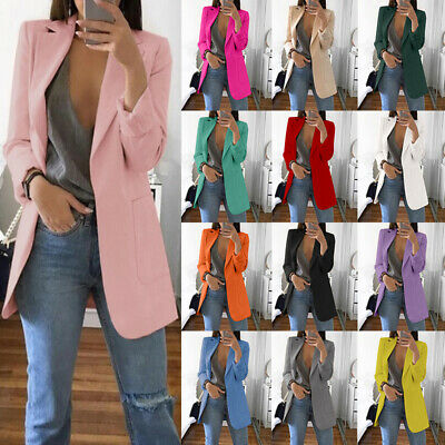 Women Ladies Long Sleeve Slim Blazer Suit Coat Work Jacket Casual Top Size 6-14