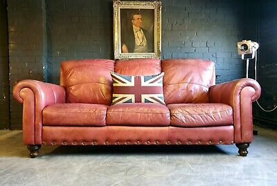5002. Chesterfield 3 Seater Red Leather Club sofa Vintage Courier Available.