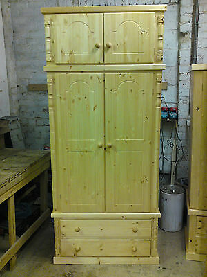 Buckingham Antique Pine Double Gents 2 Drawer Wardrobe With Top Box
