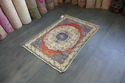 Vintage Small Rug,Turkish Handwoven Wool ,Antique Carpet 2'4x3'4 ft