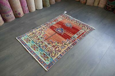 Vintage Small Rug,Turkish Handwoven Wool Antique Carpet 2'4x3'7 ft