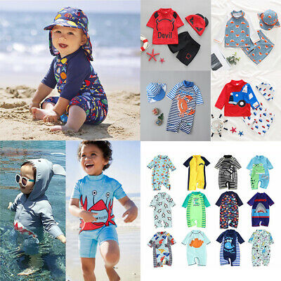 Kids Boys Girls Swimming Tops Pants Hat Set Suit Summer Holiday Beach Wear