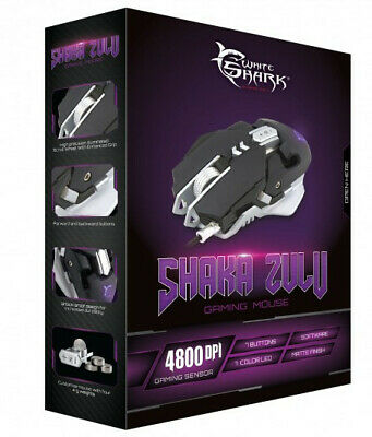 White Shark Mouse Gaming USB 4800dpi 7 Tasti Nero Shaka Zulu GM-5001