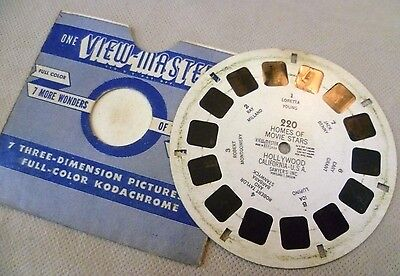 Vintage Viewmaster - Sawyer's Single Reel 220 Homes Of The Movie Stars Hollywood