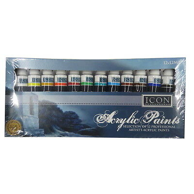 Icon Acrylic Professional Paints, Pack of 12, Assorted Colours