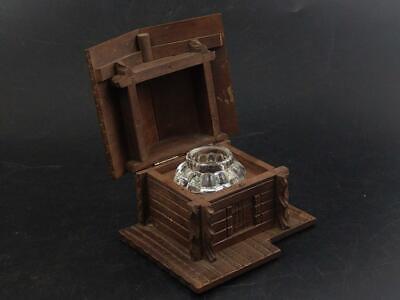 Black Forest Carved House Cabin with Glass inkwell Early 20th Century