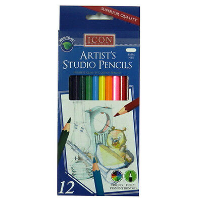 Icon Professional Artists Studio Pencils - Pack of 12, Mixed Colours