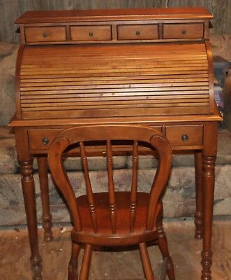 Vintage Roll Up Desk With Chair