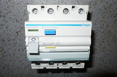 INTERRUPTEUR DIFFERENTIEL TETRAPOLAIRE 25A 30mA TYPE A HAGER CDA425D, TRIPHASE+N