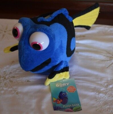 "NEW Disney Finding Nemo Dory Fish Plush Coin Piggy Bank 12"" Stuffed Animal Toy"