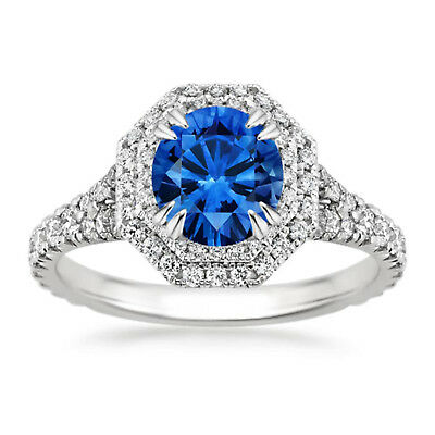 Blue Round Cut Diamond Impressive Wedding Ring 14K White Gold Certified 2.40Ct