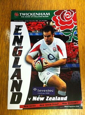 ENGLAND v NEW ZEALAND 5 Nov 2006 RUGBY PROGRAMME & TICKET, TWICKENHAM