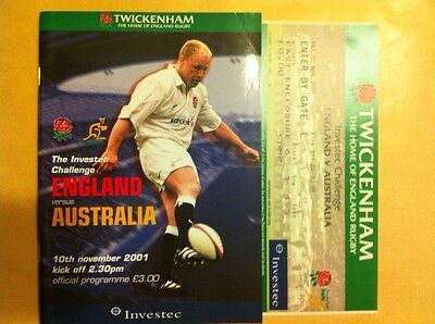 England v Australia 2001 Rugby Programme and Ticket