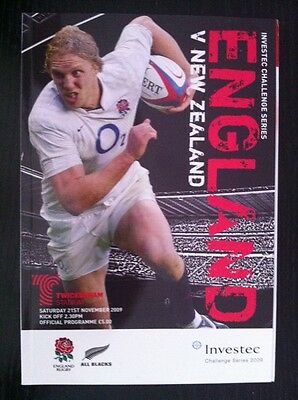 England v New Zealand 2009 Rugby Programme and Ticket