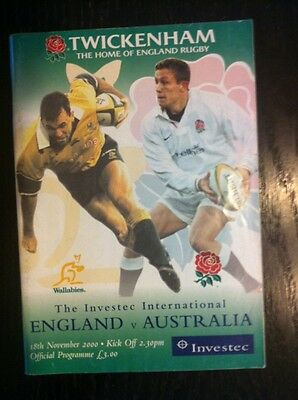 England v Australia 2000 Rugby Programme and Ticket