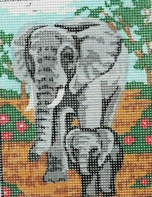 "Charming ""ELEPHANT FAMILY"" TAPESTRY  25X20CM READY TO STITCH & ENJOY FOREVER!"