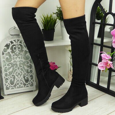 Ladies Womens Thigh High Over The Knee Chunky Heel Platform Stretch Boots Sizes