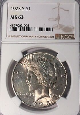 1923-S NGC MS63 Peace Silver Dollar