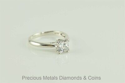 Sterling Silver Princess Cubic Zirconia Solitaire Engagement Ring Sz: 8