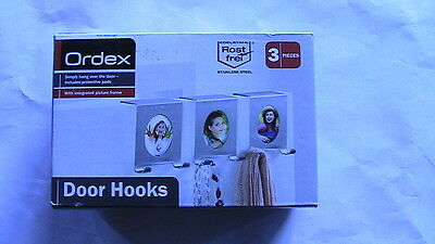 Job Lot 9 (3 x 3 boxes) Ordex Door Hooks, with picture frame, NEW