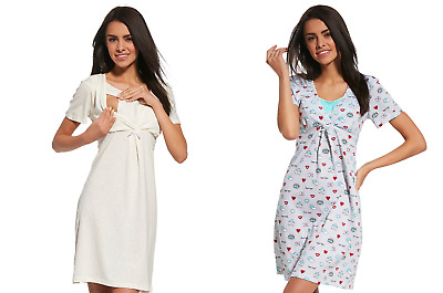 Maternity Nightdress Nightwear Nightie Nursing Gown Breastfeeding Size S-XXL