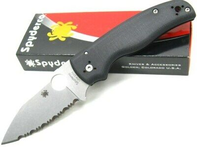 Spyderco C229GS Black G-10 Shaman Serrated Cpm S30V Folding Pocket Knife