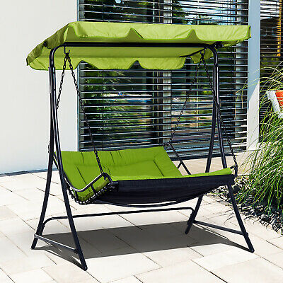 Outsunny Canopy Swing Chair Garden Hammock Bench Outdoor Lounger Bed 2 Seater