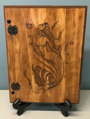 Handmade Artisan Wood Engraved/Carved Hinged Mermaid Sketch Journal Notebook