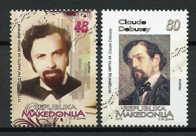 Macedonia 2018 MNH Claude Debussy & Milan Firfov 2v Set Music Composers Stamps