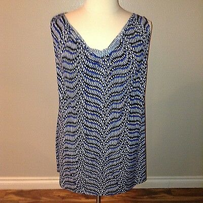Motherhood Maternity Top Size XL Sleeveless Tunic Shirt Blouse Draped Blue