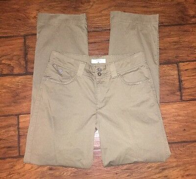 Riders by Lee pants size 8 olive green straight leg button flap pockets stretch