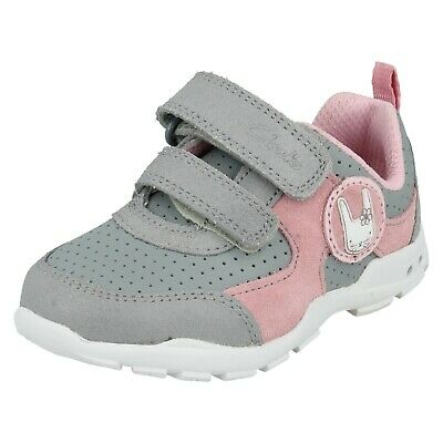 Girls Clarks Brite Wizz Hook & Loop Casual Trainers First Shoes Lights Size